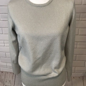 JM Collection Womens Petite Sweater Silver